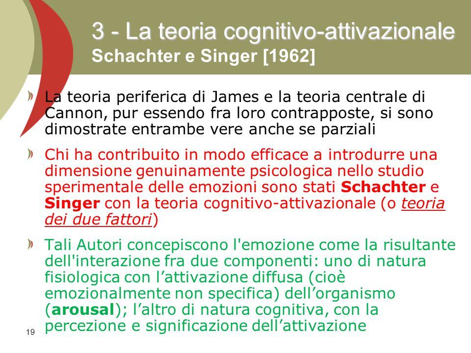 3 - La teoria cognitivo-attivazionale Schachter e Singer [1962]